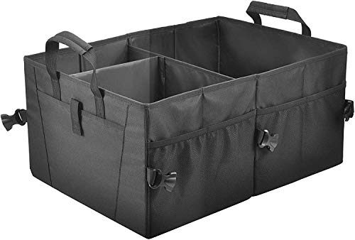 COCOBELA Trunk Organizer for Car SUV Storage Two Handles, Side Pockets, Black, Non-Slip Collapsible Storage