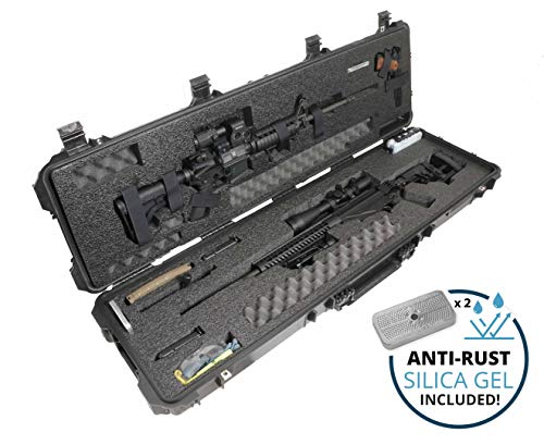 Case Club Pre-Cut Waterproof Precision Rifle and AR Rifle Case with Accessory Box and Silica Gel to Help Prevent Gun Rust (Gen 2)