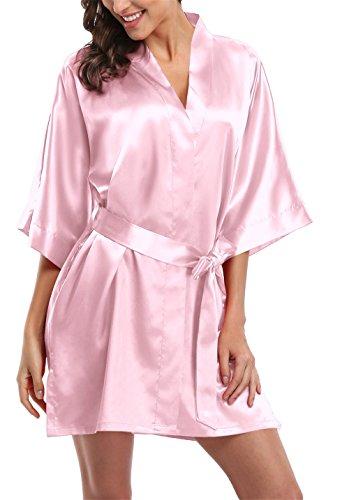 Giova Pure Color Satin Short Silky Bathrobe Sleepwear Nightgown Pajama,Baby Pink,Medium