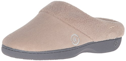 isotoner Women's Terry Slip In Clog, Memory Foam, Comfort and Arch Support, Indoor/Outdoor, Taupe, 8.5-9 US
