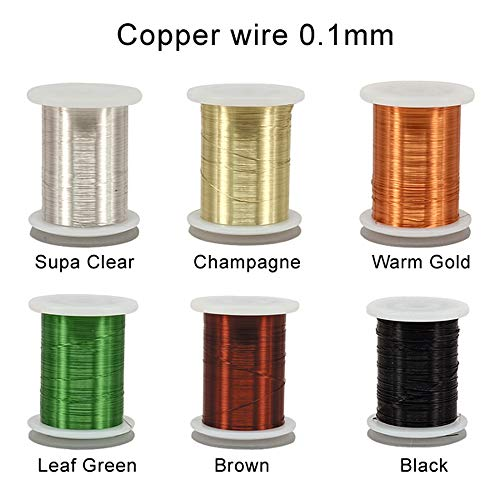 Riverruns 6 Color/Set Non-tarnishing Ultra Copper Wire 0.1mm, 0.2mm Super Realistic Fly Tying Material Proudly from Europe Great Choices for Larve Nymph, Streamer (0.1mmWire Pack)