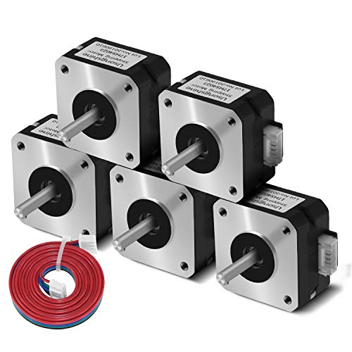 Usongshine Nema 17 Stepper Motor Bipolar Step Motor for 3D Printer/Extruder/DIY CNC 1A 13Ncm (18.4oz.in) 4 Lead 1.8 Deg with 1m Cable (17HS4023 Pack of 5)