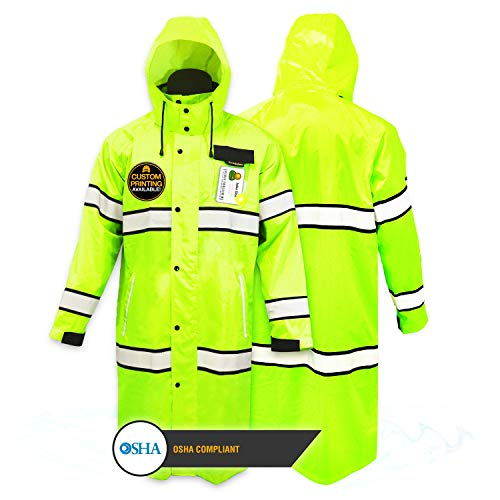 KwikSafety (Charlotte, NC) TORRENT Class 3 Safety Trench Coat | High Visibility Waterproof Windproof Safety Rain Jacket | Hi Vis Reflective ANSI Work Wear | Rain Gear Hideaway Hood Carry Bag | 2XL
