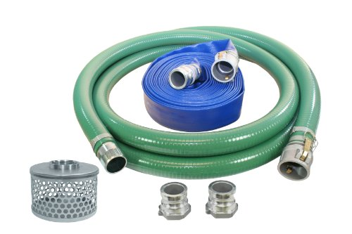 Abbott Rubber PVC Suction and Discharge Hose Pump Kit, Green/Blue, 2' Male X Female Aluminum Cam and Groove, 2' ID