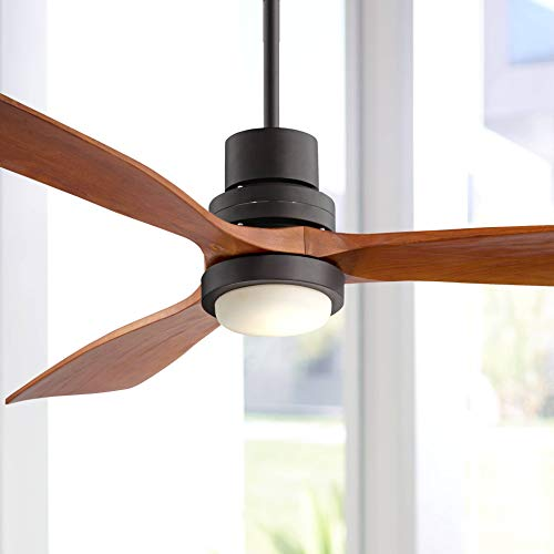 52' Casa Delta-Wing Modern Outdoor Ceiling Fan with Light Solid Wood Oil Rubbed Bronze Damp Rated for Kitchen Patio - Casa Vieja