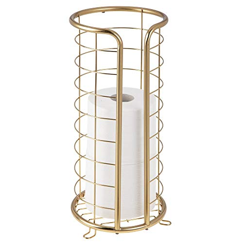 mDesign Decorative Metal Free Standing Toilet Paper Holder Stand with Storage for 3 Rolls of Toilet Tissue - for Bathroom/Powder Room - Holds Mega Rolls - Soft Brass