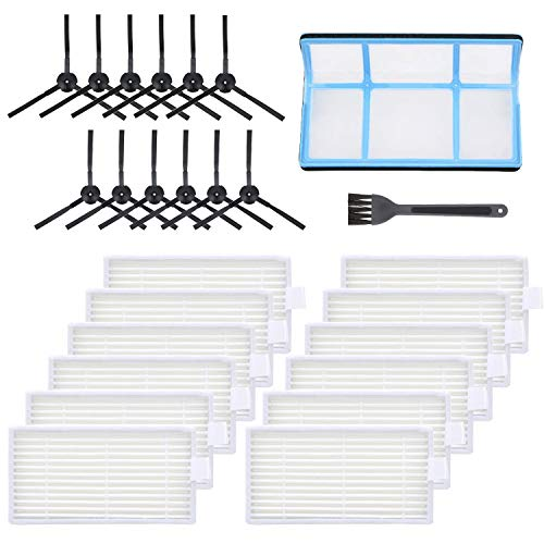 Smilyan Replacement Parts for ILIFE V3 V3s V5 V5s Pro Robotic Vacuum Cleaner, Accessories Kit Includes 1 Primary Filter 12 Side Brushes 12 Robot Vacuum Cleaner Filters