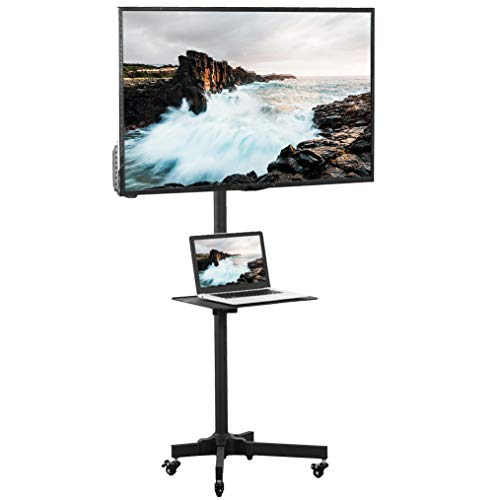 VIVO Universal Mobile TV Cart for 23-55 inch LCD LED Flat Panel Screen TVs up to 55 lbs, Pro Height Adjustable Rolling Black Stand with Laptop Shelf, Locking Wheels - Max VESA 400x400 (STAND-TV04M)