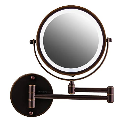 Ovente Wall Mounted Vanity Makeup Mirror 7 Inch with 7X Magnification and LED Light, 360 Degree Swivel Rotation with Distortion Free View, 4 AAA Batteries Operated, Antique Bronze (MFW70ABZ1X7X)