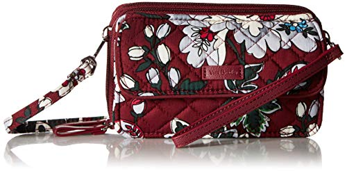 Vera Bradley Women's Signature Cotton RFID All in One Crossbody Wristlet , Bordeaux Blooms, One Size