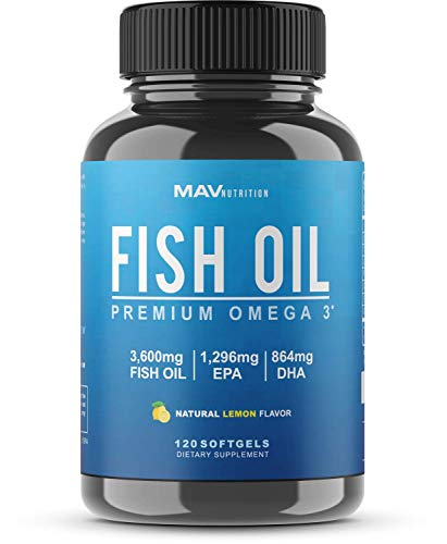 MAV Nutrition Omega 3 Fish Oil Triple Strength, 3,600mg, Burpless, Non-GMO, NSF-Certified, 120 Count (1)