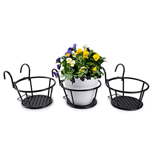 HOMENOTE Railing Planter, 3 PCs Hanging Flower Basket Outside Plant Stand Over Deck Rail Planters for Balcony - Easy Assembly Metal Black