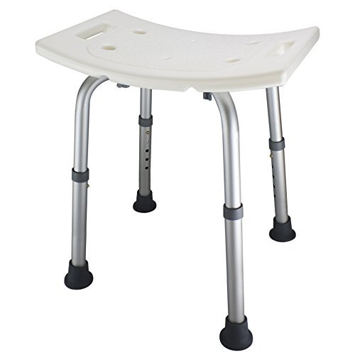 Ez2care Shower Bench Bath Seat Chair, Adjustable Height from 12.5 to 18 inch with Durable Aluminum Legs for Elderly, Senior, Handicap and Disabled, Perfect for Small Size Bathtub