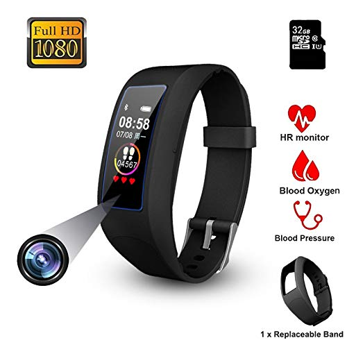 DigiKuber Spy Camera Smart Bracelet Touchscreen FHD Wearable Hidden Spycam Mini Video Recorder Wristband Invisible Lens SmartWatch 1080P FHD Min DVR Cam with Bluetooth for Smartphone (32GB)