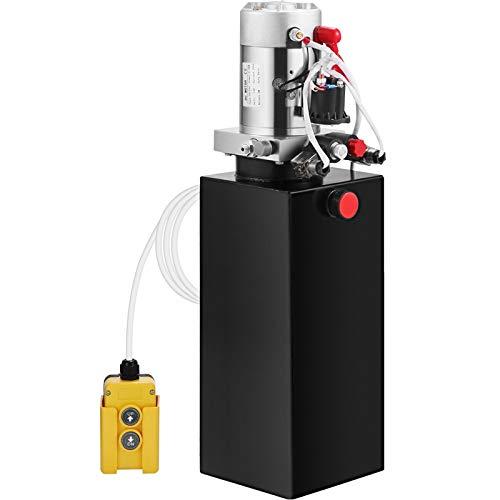 Mophorn Hydraulic Pump 10 Quart Hydraulic Power Unit Single Acting Hydraulic Pump for Dump Trailer Car Lifting 12V DC Hydraulic Pump (Steel,Single Acting)