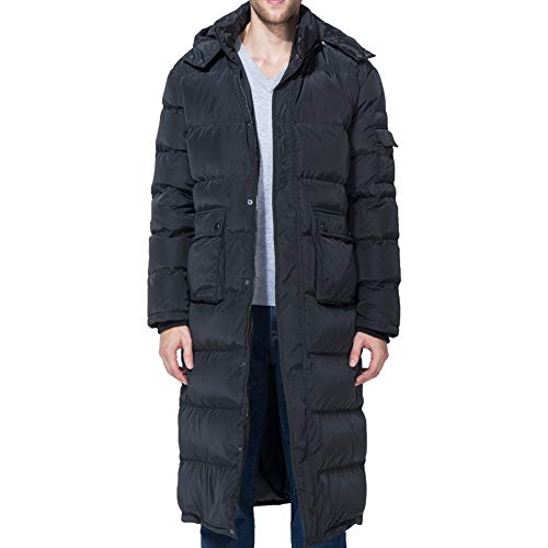 Tapasimme Men's Winter Warm Down Coat Men Packaged Down Puffer Jacket Long Coat with Hooded Compressible (Large, Black Long)