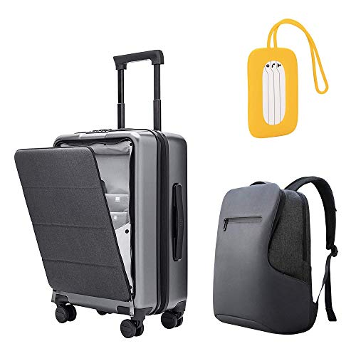 NINETYGO Carry on Luggage 22x14x9 with Spinner Wheels & Front Pocket Lock Cover; Laptop Backpack Fits 15.6 Inch Laptop (Dark Gray); Travel Luggage Tag Silica Gel (Yellow))