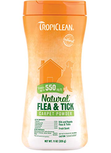 TropiClean Natural Flea & Tick Carpet Powder for Dogs, 11oz, Made in USA