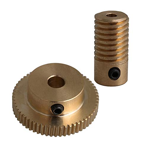 CNBTR Yellow 3MM Hole Dia Brass Worm Gear Shaft + 31MM OD 60 Teeth Brass Worm Gear Wheel 0.5 Modulus Set
