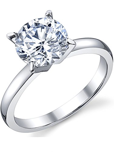 2 Carat Round Brilliant Cubic Zirconia CZ Sterling Silver 925 Wedding Engagement Ring Size 7