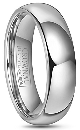 Crownal 4mm 6mm 8mm 10mm Tungsten Wedding Band Ring Men Women Plain Dome Polished Size Comfort Fit Size 3 To 17 (6mm,12)