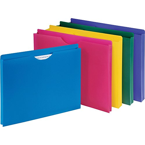 1InTheOffice Poly File Jacket File Folder, Letter 1' Expanding File Jacket, 10-Pack, Assorted