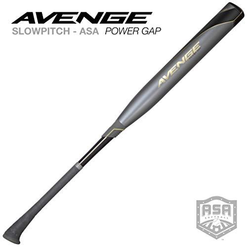 Axe Bat 2020 Avenge Power Gap (-7, 2-1/4) USA Softball (ASA) Slowpitch Bat / 2-Piece Comp / 34' - 27 oz, Silver/Black