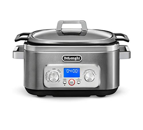 De'Longhi Livenza 7-in-1 Multi-Cooker Programmable SlowCooker, Bake, Brown, Saute, Rice, Steamer & Warmer, Easy to Use and Clean, Nonstick Dishwasher Safe Pot, (6-Quart), Stainless Steel