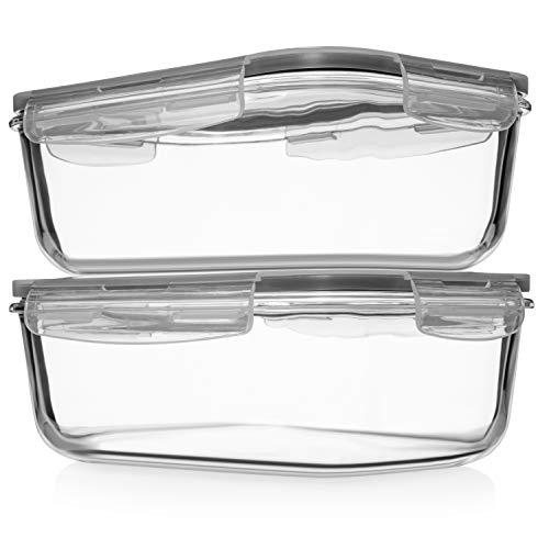 8 Cups/ 63 Oz 4 Piece (2 containers + 2 Lids) Large Glass Food Storage/Baking Containers with Locking Lids Ideal for Storing food, vegetables or fruits. BPA Free & Leak Proof - Microwave, Oven Safe