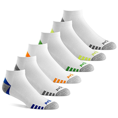 Prince Men's Low Cut Performance Socks for Running, Tennis, and Casual Use (Pack of 6) - White, 6-12