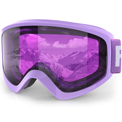 findway Kids Ski Goggles, Kids Snow Snowboard Goggles for Boys Girls Youth (Pink Blue Rose) Age 5 6 7 8 9 10 11 12 13 14 15 16,Over Glasses OTG Design,Anti Fog,100% UV Protection,Helmet Compatible