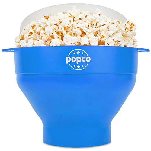 The Original Popco Silicone Microwave Popcorn Popper with Handles, Silicone Popcorn Maker, Collapsible Bowl Bpa Free and Dishwasher Safe - 15 Colors Available (Light Blue)