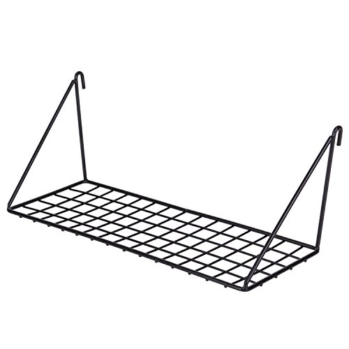 Kaforise Hanging Straight Shelf for Wire Wall Grid Panel, Small Wire Wall Organizer and Display Shelf, Size 11.8' X 4.3',Black Painted