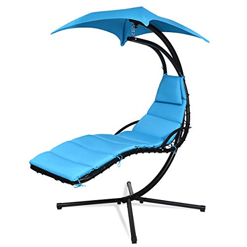 Giantex Hanging Chaise Lounger Chair, Arc Stand Porch Swing Chair w/Canopy, Cushion Built-in Pillow, Outdoor Freestanding Swing Hammock Chair for Patio Poolside Backyard Garden (Blue)