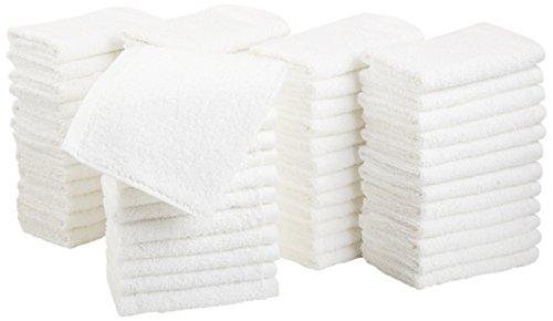AmazonBasics Cotton Washcloths - Pack of 60, White