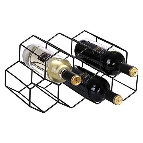 waturis Wine Rack Countertop, 9 Bottle Honeycomb Modern Tabletop Wine Bottle Holder for Wine Storage, Freestanding Black Metal Countertop Wine Rack for Cabinets, Kitchen Countertop, Wine Cellar Bar