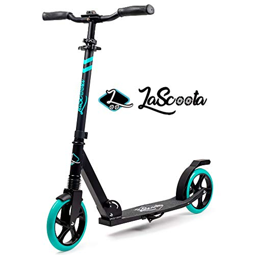 Lascoota Scooters for Kids 8 Years and up - Quick-Release Folding System - Dual Suspension System + Scooter Shoulder Strap 7.9' Big Wheels Great Scooters for Adults and Teens (Aqua, Kids/Adults)