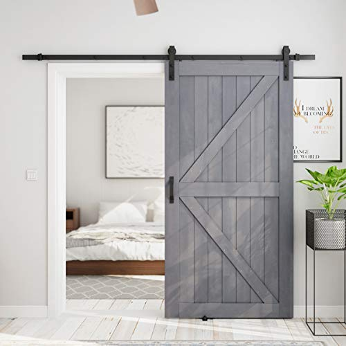 SMARTSTANDARD 42in x 84in Sliding Barn Door with 8ft Barn Door Hardware Kit & Handle, Pre-Drilled Ready to Assemble, DIY Unfinished Solid Cypress Wood Panelled Slab, K-Frame