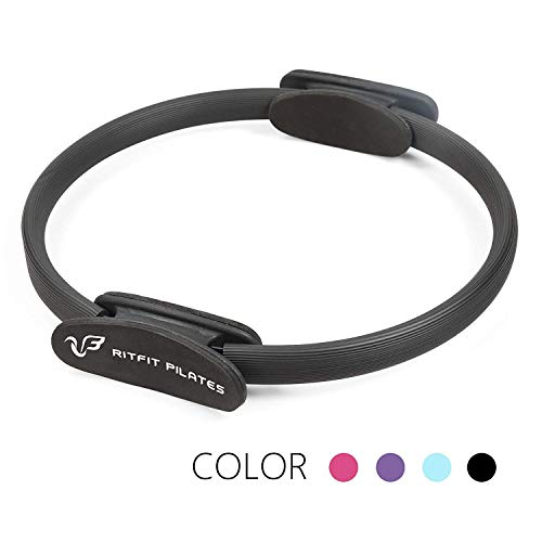 RitFit Pilates Ring – Premium Power Resistance Full Body Toning Fitness Circle - with Carrying Bag and Bonus eBook(Black)