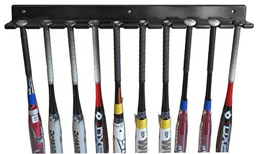 Baseball Bat Display Rack Wall Hanger, Holds 10 Bats, Solid Wood (Black Finish)