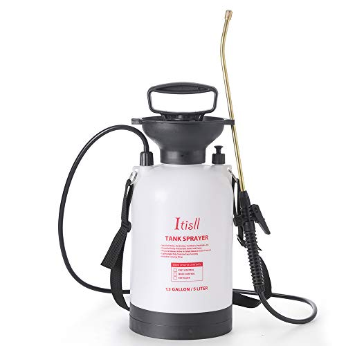 ITISLL 1.3Gallon Garden Pump Sprayer Portable Yard & Lawn Sprayer with Brass Wand and Shoulder Strap for Weeds Plants 5 liters (819NF5)