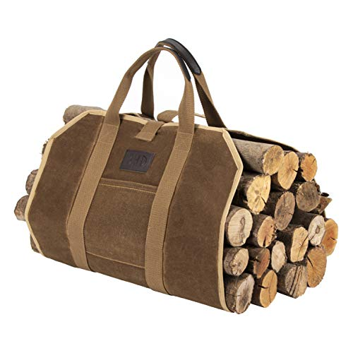 BHD Firewood Fireplace Carrier Logs Tote Holder 20 oz Waxed Canvas Sturdy Bag with Handles for Camping Indoor Outdoor