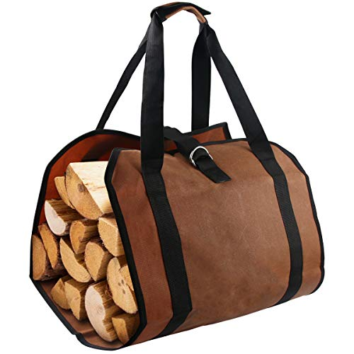 Firewood Log Carrier Bag, Waxed Canvas Log Tote Bag for Indoor Fireplace Log Holders with Handle Fire Wood Carriers for Outdoor Fire Pit Fireplace Tools Accessories Log Bag Hearth Stove Tools Bag