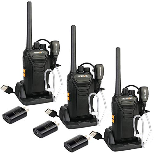 Retevis RT27 Walkie Talkies Rechargeable Two Way Radio 22 CH USB VOX Encryption Security 2 Way Radios with Earpiece Covert Air Acoustic (3 Pack)