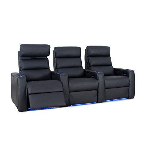Octane Seating Dream HR Home Theatre Seating - Black Top Grain Leather - Power Recline - Lighted Cup Holders - Row of 3 Seats