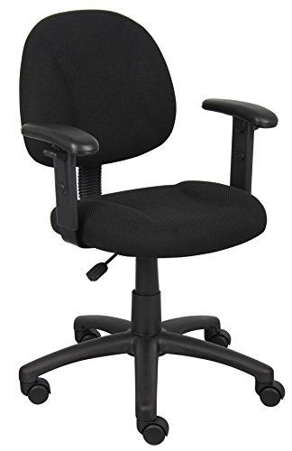 Boss Office Products Perfect Posture Delux Fabric Task Chair with Adjustable Arms in Black