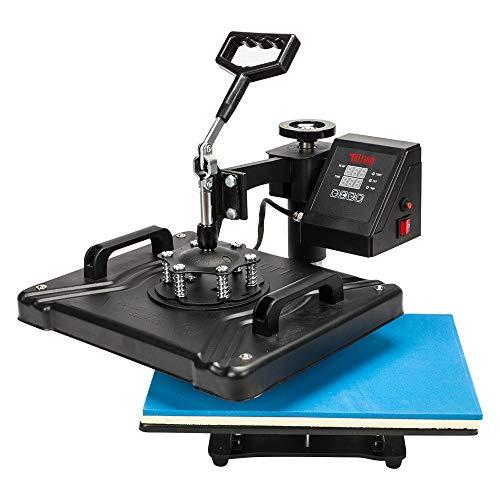 TUFFIOM 5 in 1 Combo Heat Press Machine, 12x15 Inch 360 Swing Away Multifunctional Digital Transfer Sublimation Print, for T-Shirt/Mug/Hat/Plate/Cap, 1250W Black
