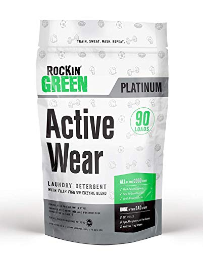 Rockin' Green Platinum Series Active Wear Laundry Detergent Powder, 45 oz. - All Natural, Biodegradable, and Eco-Friendly