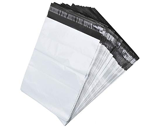 100 White Poly Mailer Shipping Bag Envelopes Self Adhesive Mailing Envelopes, Flexible Secure Packaging for Shipping Supplies, Water Proof, Tear Resistant 100 Pack Postal Bags (12 x 15.5 Inches)