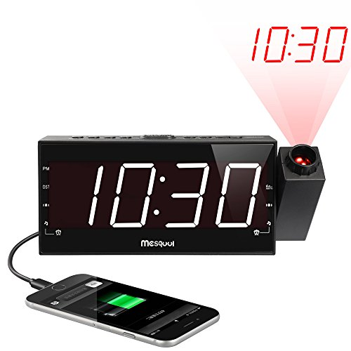 Mesqool Projection Alarm Clock for Bedroom - AM FM Radio & Sleep Timer, 180 Projector, 7' Large Digital LED Display&Dimmer, Dual Alarms, USB Charger, Battery Backup Desk Wall Ceiling Plug -in Clock